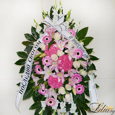 Funeral wreath with lily, gerbera, rose, hydrangea and gladiol
